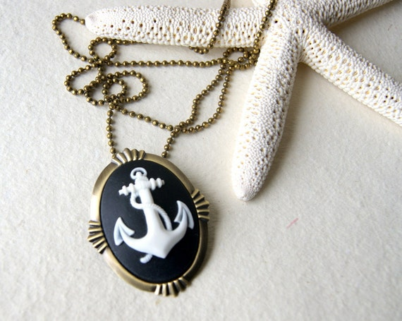 Anchor Necklace white anchor with black background cameo with antiqued brass ball chain also a brooch nautical fashion
