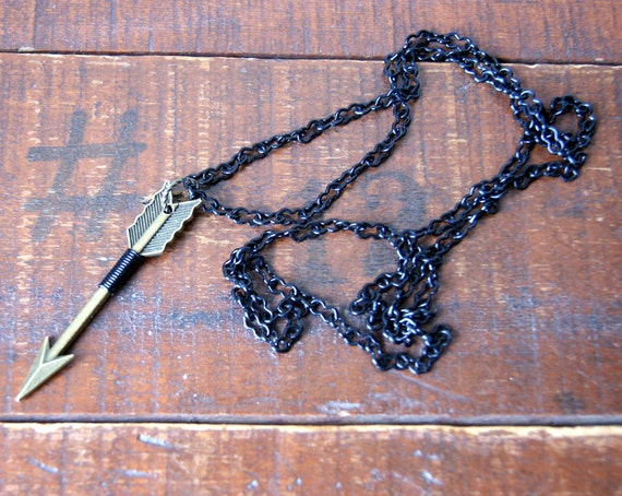 Arrow Necklace - black wire wrapped antiqued brass arrow pendant - archery - hunter - woodland - unisex fashion