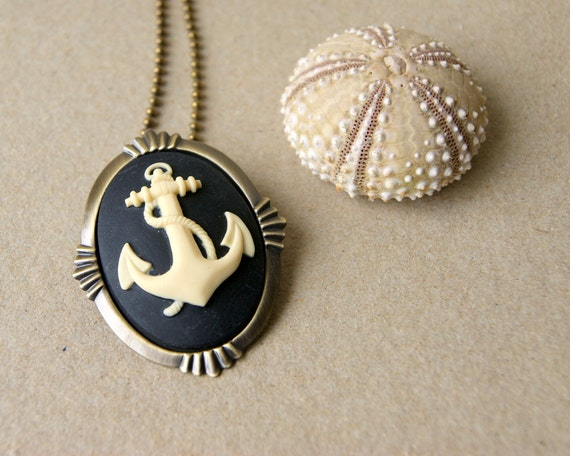 Anchor Necklace ivory anchor with black background cameo with antiqued brass ball chain also a brooch summer fashion nautical fashion