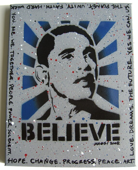 Barack Obama Believe Stencil Spray Paint Painting Canvas