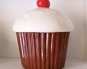 Ceramic Chocolate Cupcake Cookie Jar, PREORDER