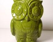 Ceramic Tiki Owl Planter Vintage Design in Avocado