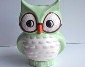 Wise Owl Bank Vintage Design Mint Green Ceramic Owl Wearing Glasses Great Graduation Gift
