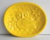 Ceramic Owl Soap Dish Tray in Lemon