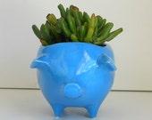 Ceramic Pig Planter Vintage Design in Turquoise Plant Pot Cactus Succulent