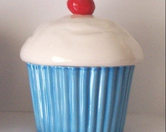 Ceramic Cupcake Cookie Jar In Blueberry Turquoise Great Housewarming Gift Cupcake Lover