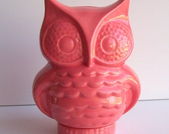Ceramic Owl Bank Vintage Design in Coral Pink Money Box Makes a Great Housewarming Gift