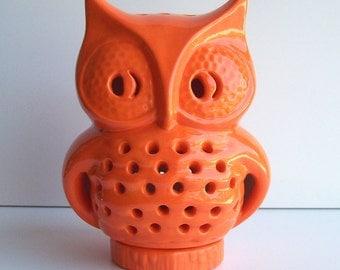 Owl Lantern, Halloween Lantern, Ceramic Owl, Vintage Design, Orange Owl,  Patio