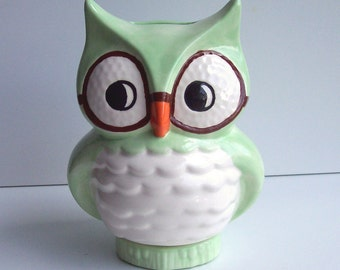 Wise Owl Bank Vintage Design Mint Green Ceramic Owl Wearing Glasses Great Graduation Gift