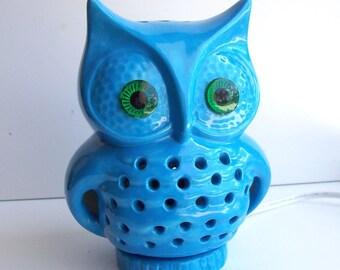 Owl Lamp Vintage Design In Turquoise Ceramic Woodland Night Light Retro Home Decor