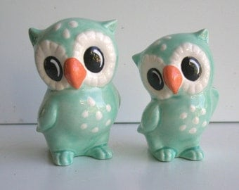 Love Owl Figurines in Aqua Blue Cake Topper Baby Shower Wedding Gift Owl Home Decor