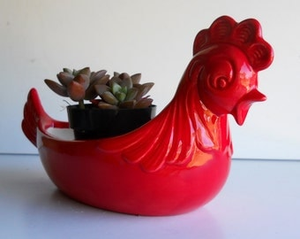 Ceramic Chicken Planter, Rooster, Vintage Design In Chili Pepper Red, Rooster Home Decor, Hen pot, Cactus Planter, Vintage Design