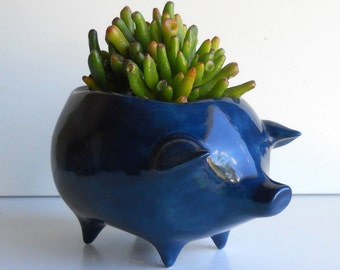 Ceramic Pig Planter Vintage Design in Navy Blue Succulent Planter Retro Birthday Gift Sponge Holder