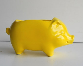 Pig Planter, Ceramic pig, Mini Pig, Plant Pot, Vintage Design, Lemon Yellow, Sponge Holder, Retro Kitchen, Succulent Planter, Cactus Planter