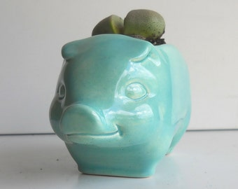 Pig Planter, Ceramic, 60s Pig, Plant Pot, Succulent Planter, Vintage Design, Aqua Kitchen Decor, Cactus pot, Kitsch, Piggy Planter, Animal