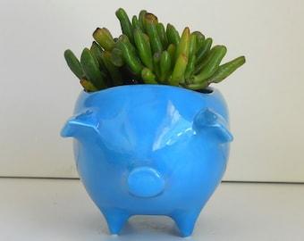 Ceramic Pig Planter, Vintage Design, Turquoise Blue, Plant Pot, Cactus Planter, Succulent Planter, Sponge Holder, Scrubby pot, Blue Kitchen