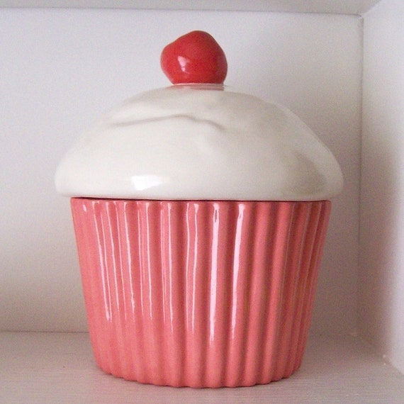 Cupcake Canisters For Kitchen: Ceramic Strawberry Pink Cupcake Cookie Jar