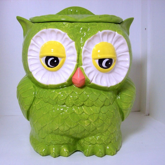Ceramic Owl Cookie Jar Vintage Design In Sour Apple Ready To