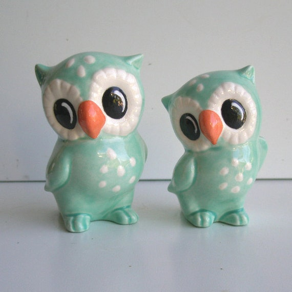 Love Owl Figurines in Aqua Blue Cake Topper Wedding Gift Owl Home Decor