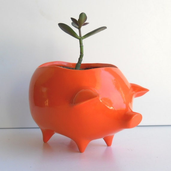 Pig Planter Vintage Design in Orange Succulent Herb Pot Retro Modern Home Decor Piggy ceramic Container