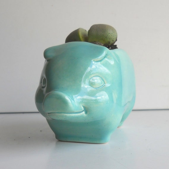Ceramic 60s Pig Planter Vintage Design in Aqua Succulent planter