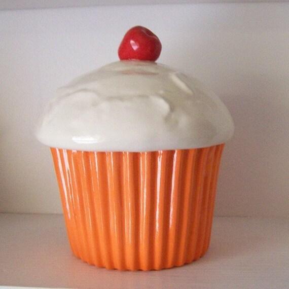 Ceramic Orange Cupcake Cookie Jar Preorder By Fruitflypie