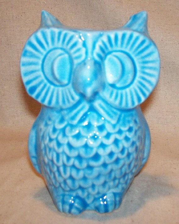 Ceramic Owl Planter Vase Vintage Design Aqua Blue