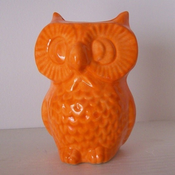 Ceramic Owl Planter Vase Vintage Design Orange