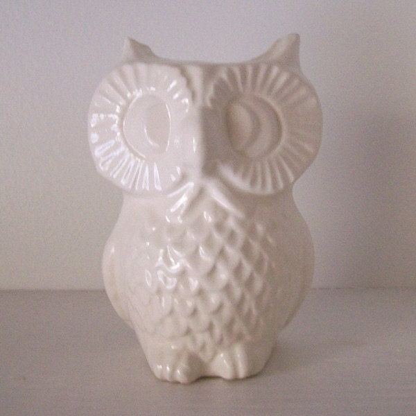 ceramic owl vase vintage design in white by fruitflypie on