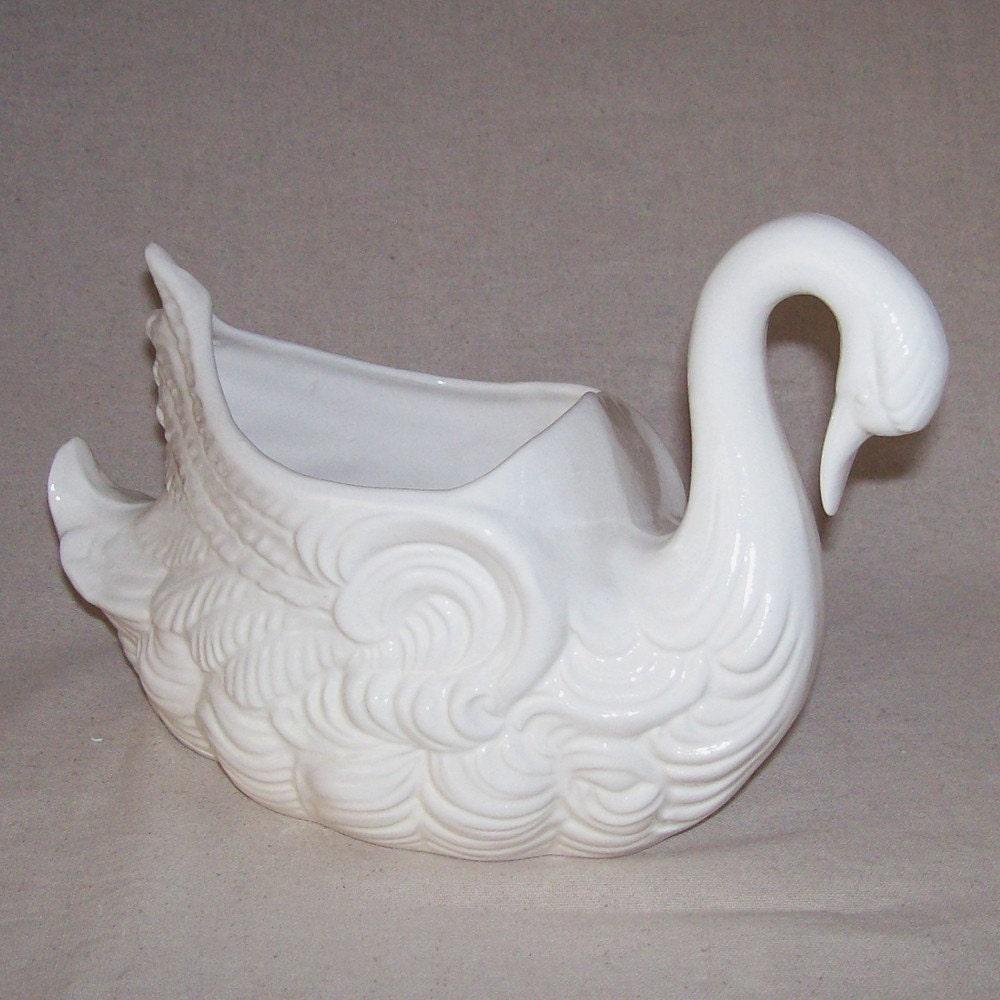 Ceramic Swan Garden Planter Vintage Design In White