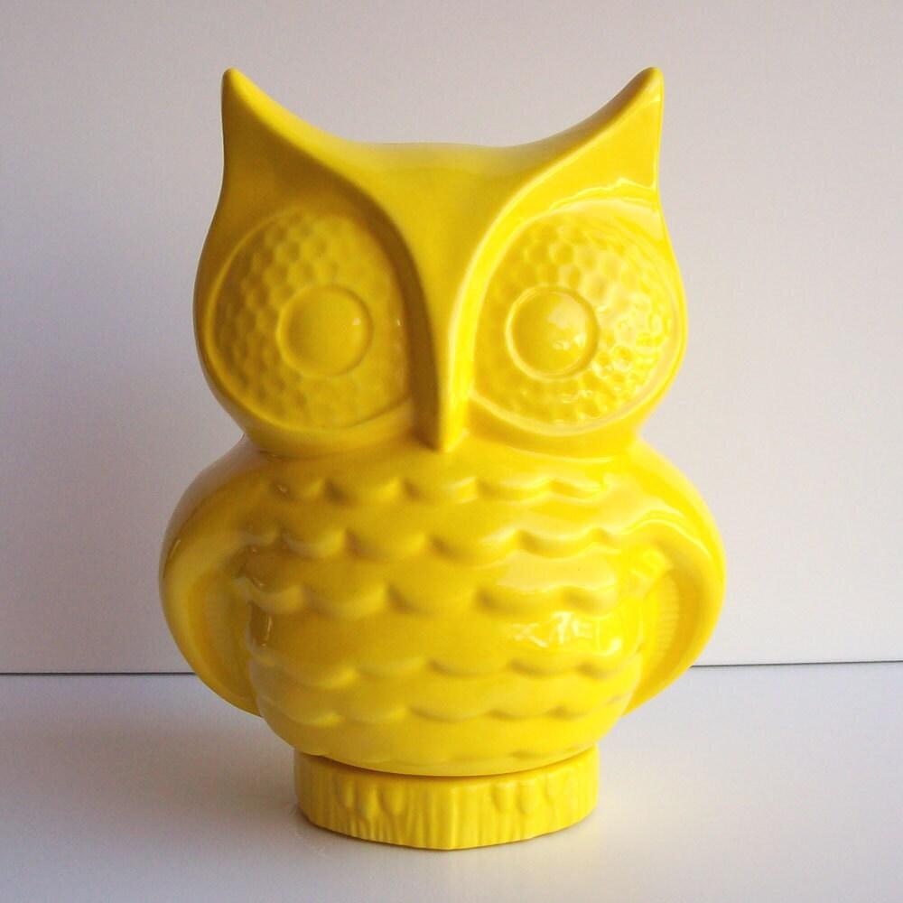 Yellow Home Accessories Owl Planter Ceramic Owl Owl Vase Desk Planter Vintage