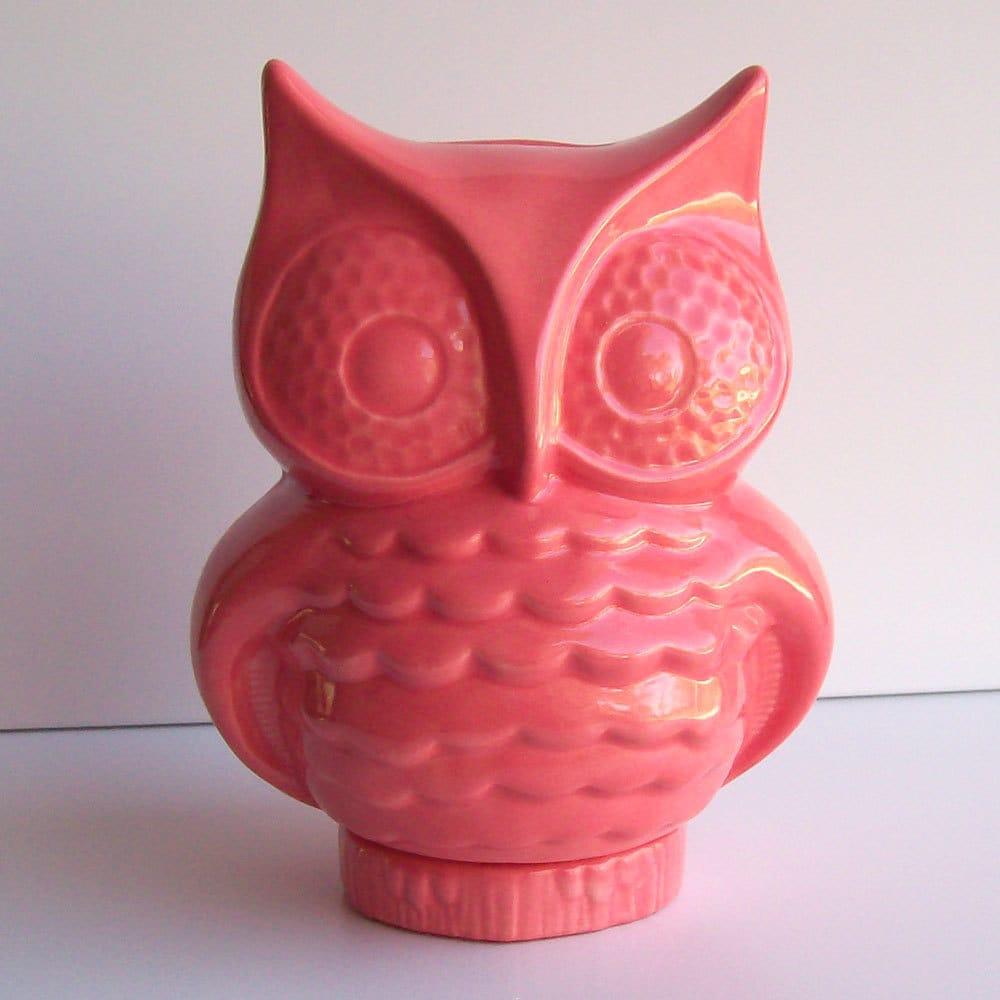 ceramic owl bank piggy bank coin bank vintage design coral