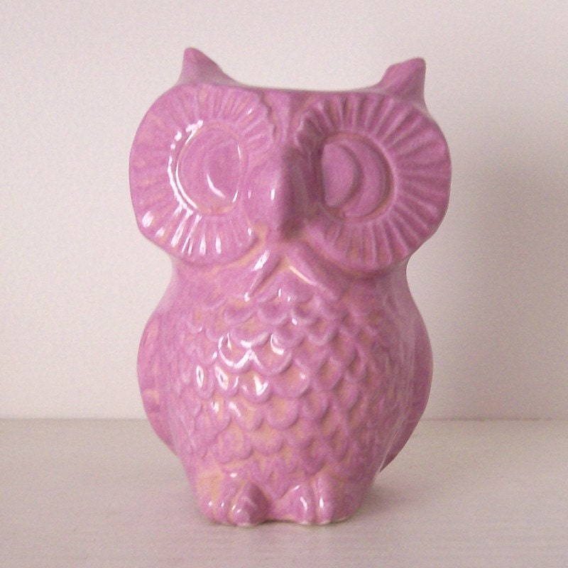 Ceramic Owl Flower Vase Planter Lavender Purple By Fruitflypie