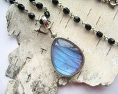Monarch and Blue Morpho - Two Real Butterfly Wings Glass Necklace,  ready to ship