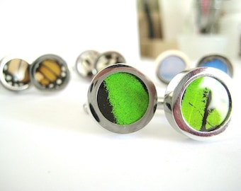 Real Butterfly Wing CuffLinks - fly away with me, emerald green