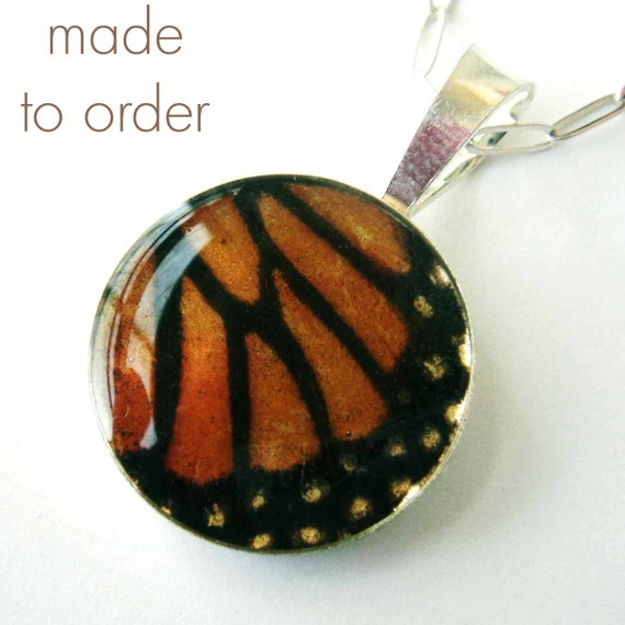 Relic - Real Butterfly Wing Necklace, made to order monarch (sm)