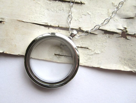 LARGE Clear Glass Memory Locket, fill with  photo keepsakes, charms, love notes - 24 inch sterling chain