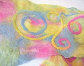 Scarf Nuno Felted SWIRL with handpainted bamboo