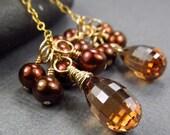 Gold Brown Earrings Freshwater Cultured Pearl Cluster & Cubic Zirconia Elegant Feminine Jewelry