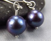 Purple Eggplant Earrings Freshwater Culture Pearl Earrings - Bridesmaid Set Dark Purple Wedding Jewelry
