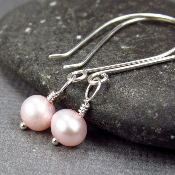 Light Pink Earrings Freshwater  Pearl Earrings Bridesmaid Set Sterling Silver
