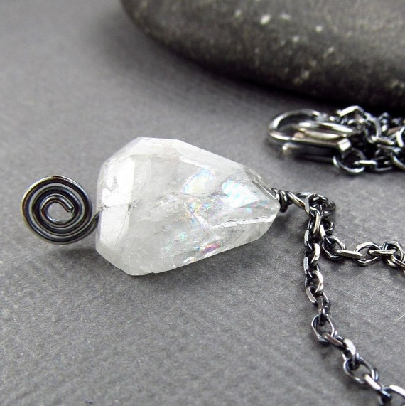 White Aquamarine Pendant  Black Patina Sterling Silver Longer Necklace Rough Gemstone Pendant Natural Organic Jewelry Oxidized Silver