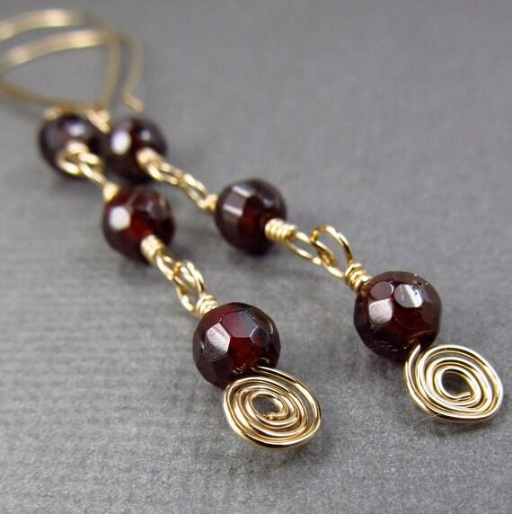 Long Garnet Earrings Red Gemstone Earrings Long Dark Red Earrings 14K Gold Fill Dangle Jewelry