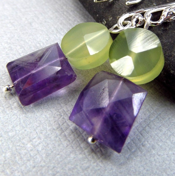 Colorblock Green Purple Earrings Affordable Gemstone Jewelry Chalcedony Amethyst Sterling Silver Modern Dangle Earrings Contemporary