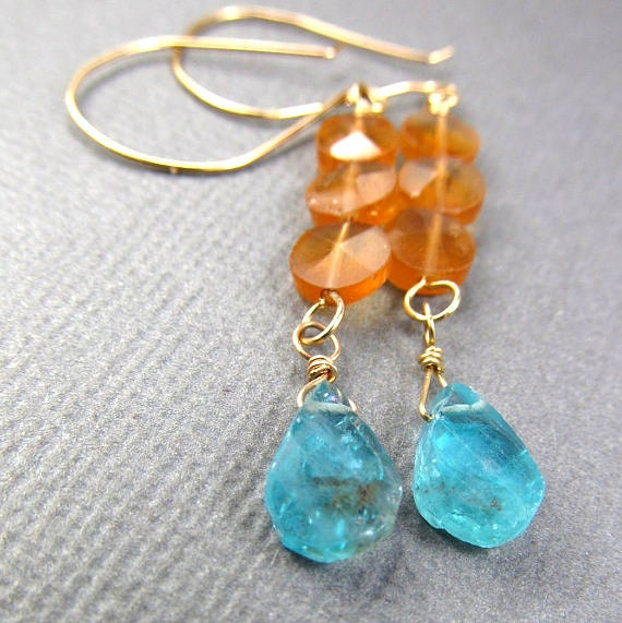 Teal Orange Earrings Apatite Gold Bright Geometric Earrings Affordable Gemstone Earrings Tango Tangerine Blue Earrings Boehmian Gypsy
