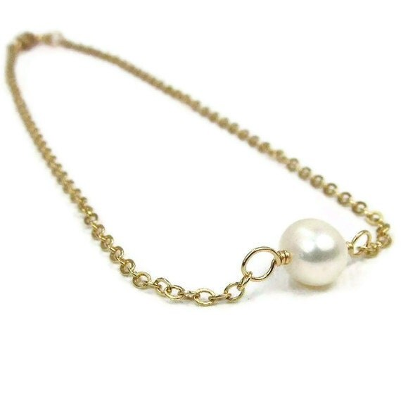Gold Pearl Anklet White Ankle Bracelet Beach Wedding Jewelry