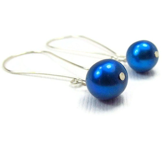 Blue Bridesmaid Earrings Freshwater Cultured Pearl Cobalt Blue Wedding Jewellry Sterling Silver Ample Goddess Blue Wedding Jewelry