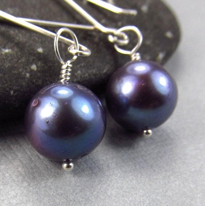 Purple Eggplant Earrings Freshwater Culture Pearl Earrings