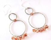 Orbit - silver, copper, crystal earrings
