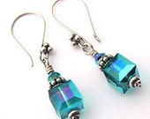 Bali sterling & Swarovski cube earrings